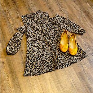 Newbury Kustom Leopard Cold Shoulder Tie Back Top